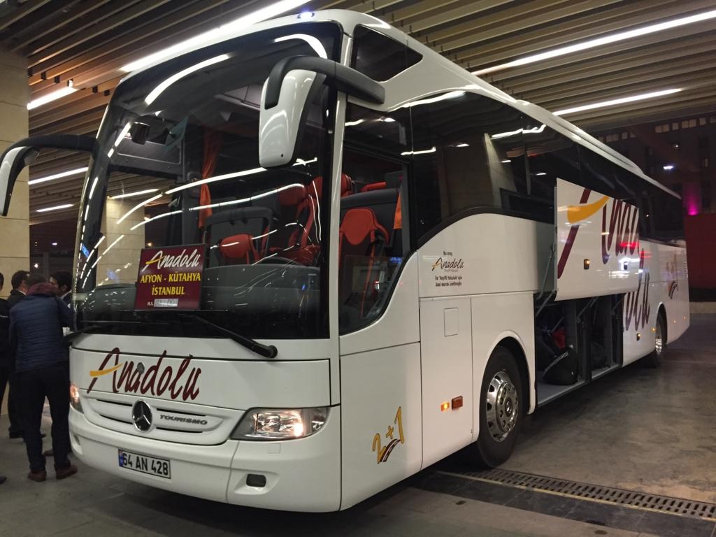 トルコパムッカレからイスタンブールへの移動Anadolu社バス外観