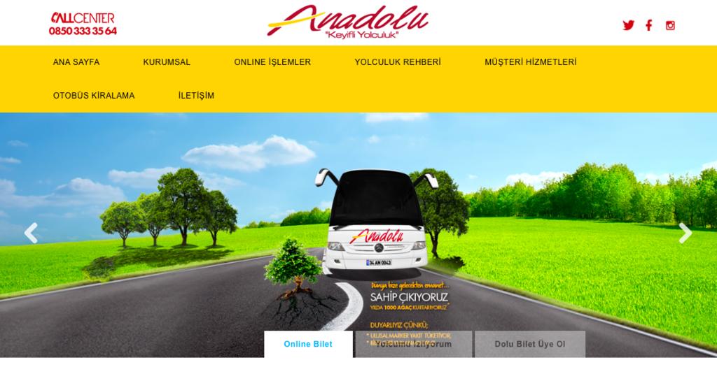 Anadolu社のバスホームページ
