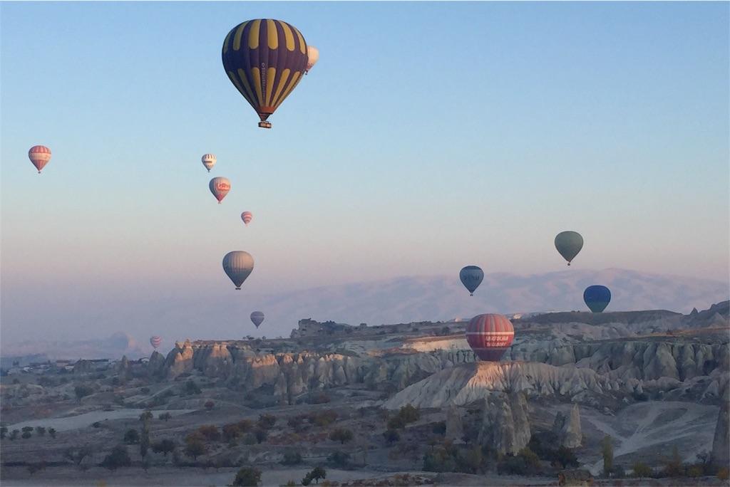 カッパドキアの早朝気球ツアーの様子