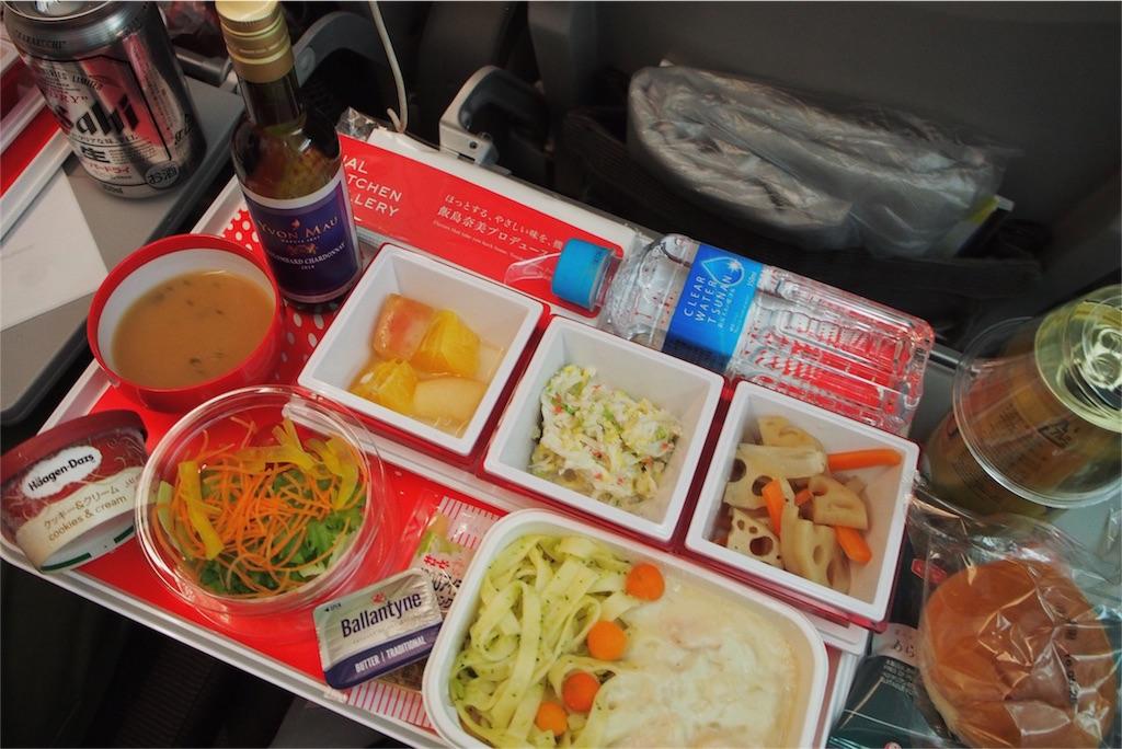 関空-LA間の夕食は飯島奈美さんとのコラボ