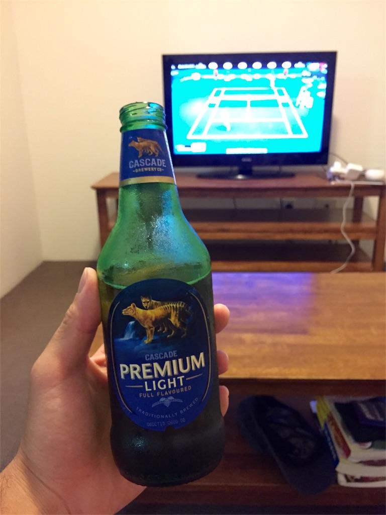 ビールを飲みながら全豪オープン観戦