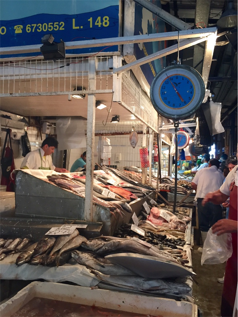 サンティアゴの魚市場の様子