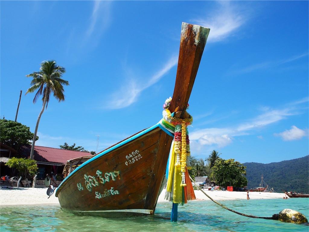 リペ島へ上陸するロングボート