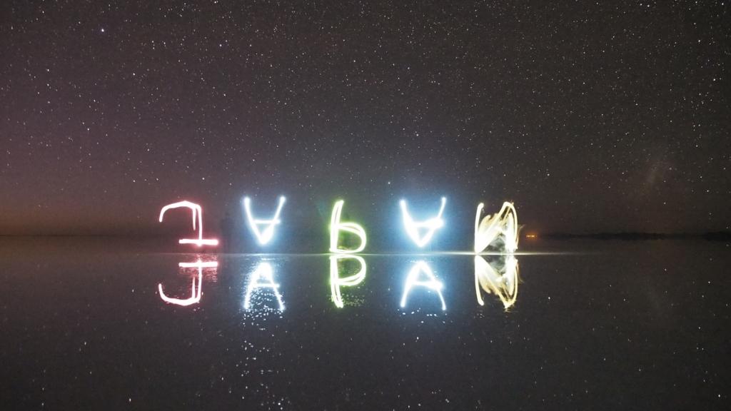 ライトを持ってみんなで文字を書いてみる
