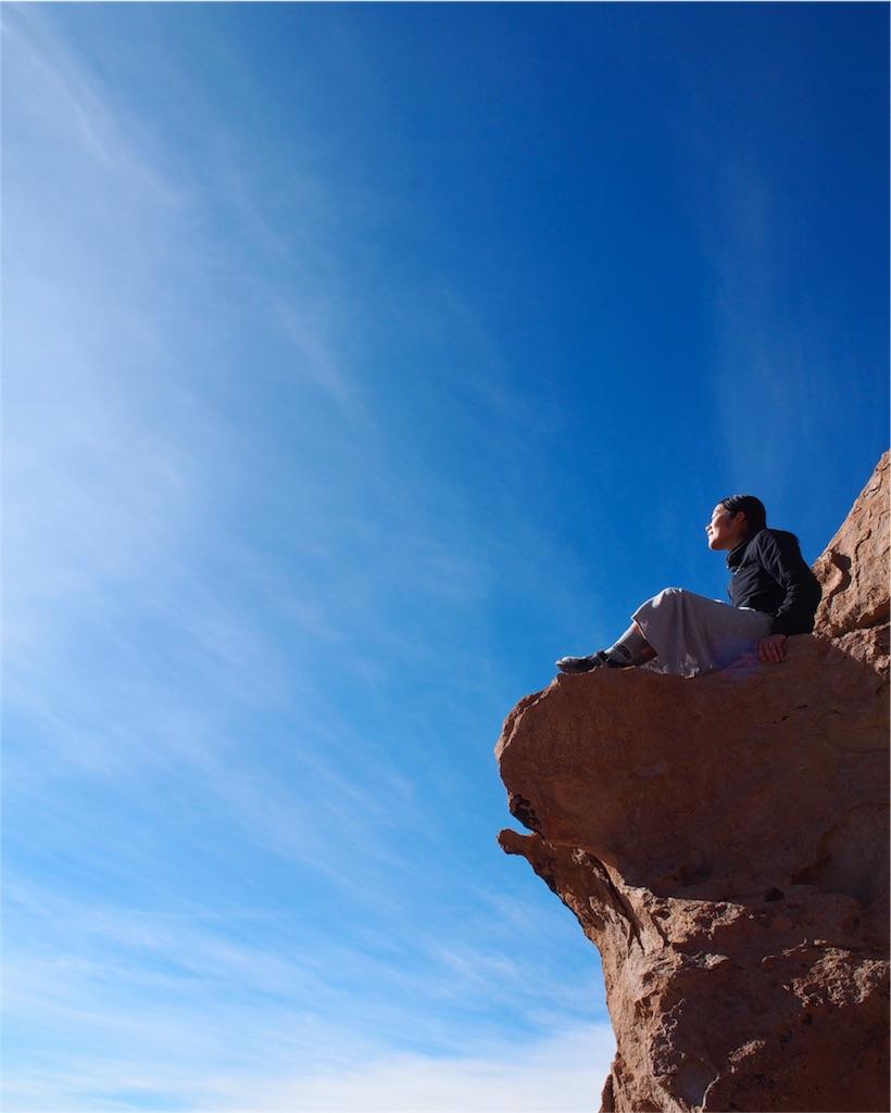岩を登りきったところからは爽快な景色が