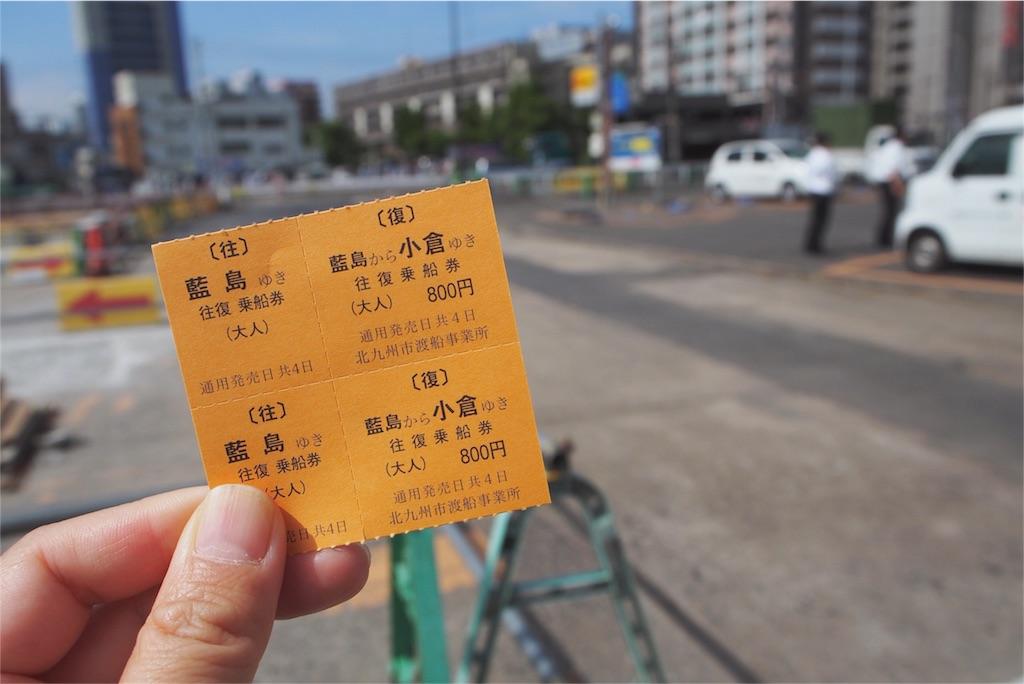 小倉-藍島間の往復チケット