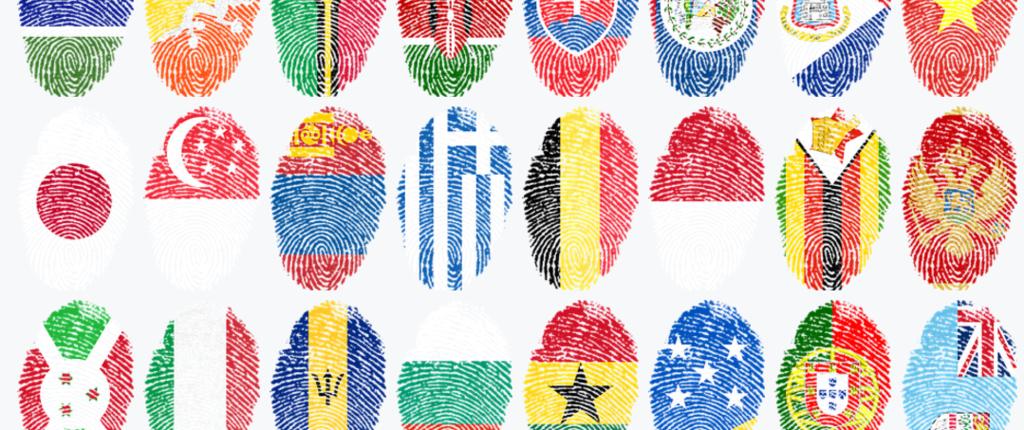 国旗の指紋がたくさん パスポートイメージ画像
