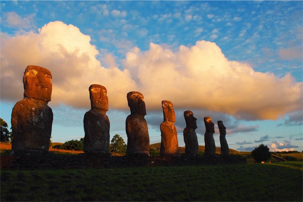 イースター島の夕日とアフアキビさん御一行