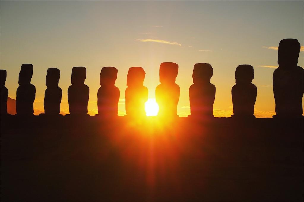 イースター島の朝日とモアイその2