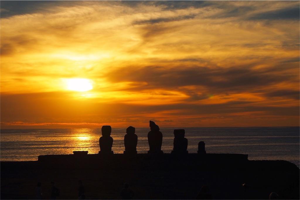 イースター島の夕陽とモアイその2