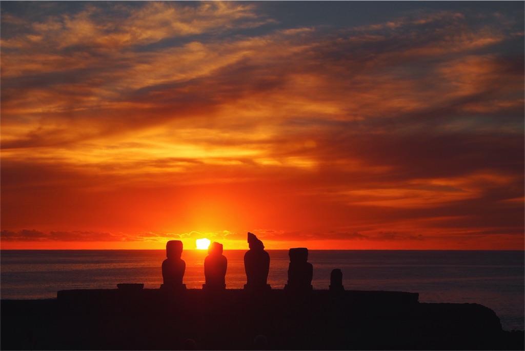 イースター島の夕陽とモアイその3