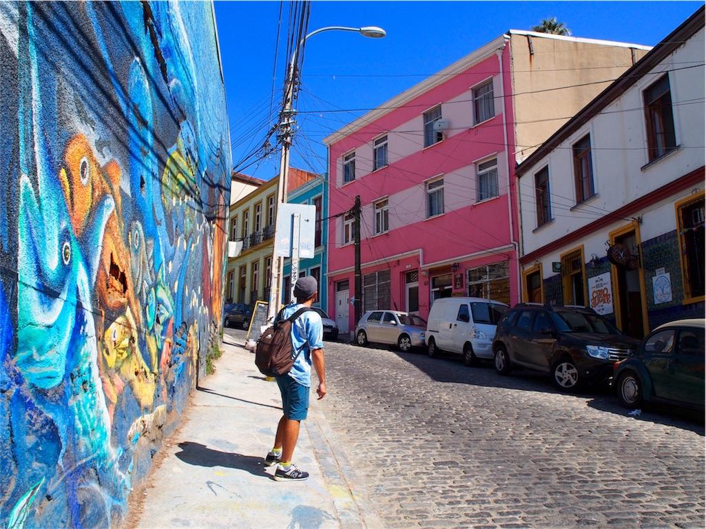 バルパライソの街並みはコントラストが美しい