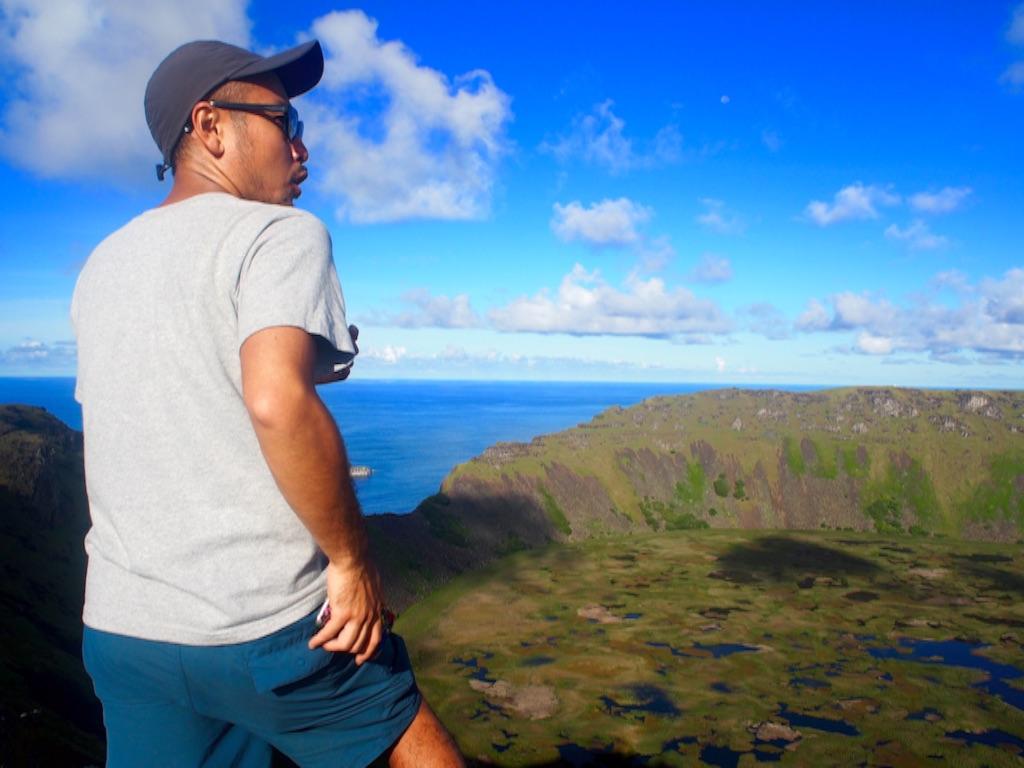 オロンゴ火山湖とぼく