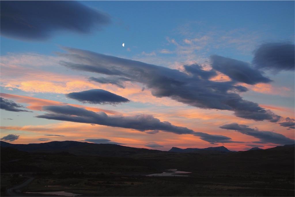 パイネ国立公園のきれいな夕焼け