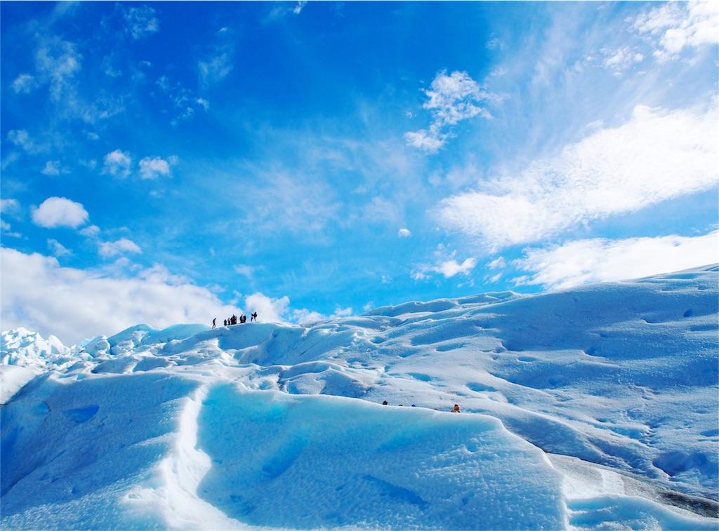 氷河の溶け出した水はとても青く澄んでいて綺麗