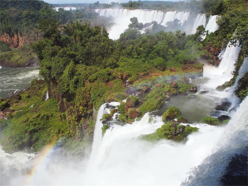 虹がかかって美しいイグアスの滝