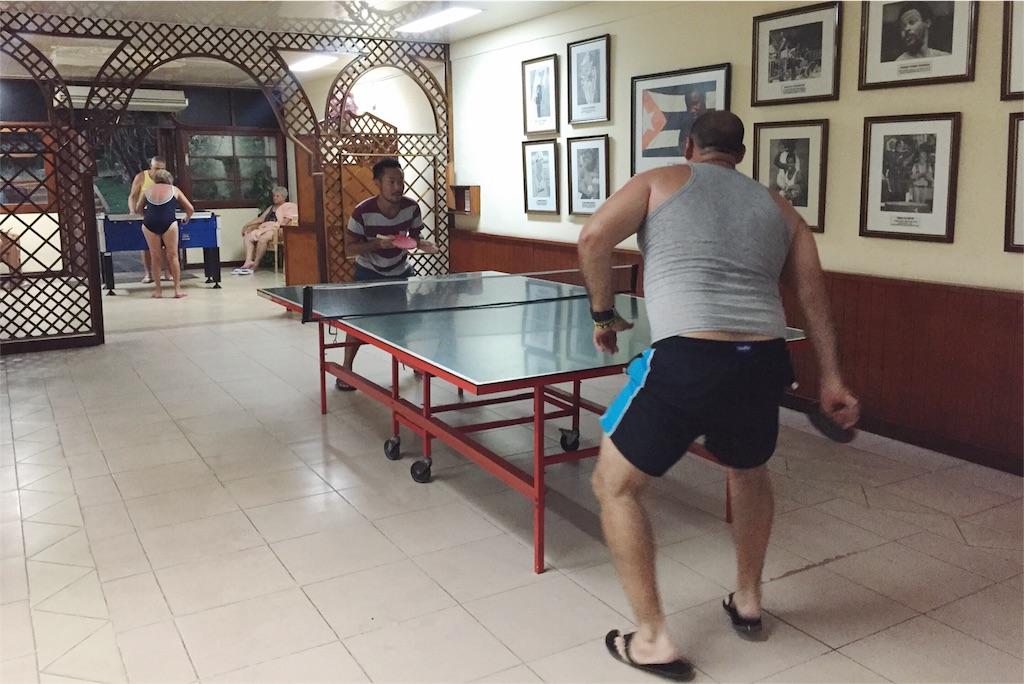 Breezes Varadero内の卓球コーナーにて