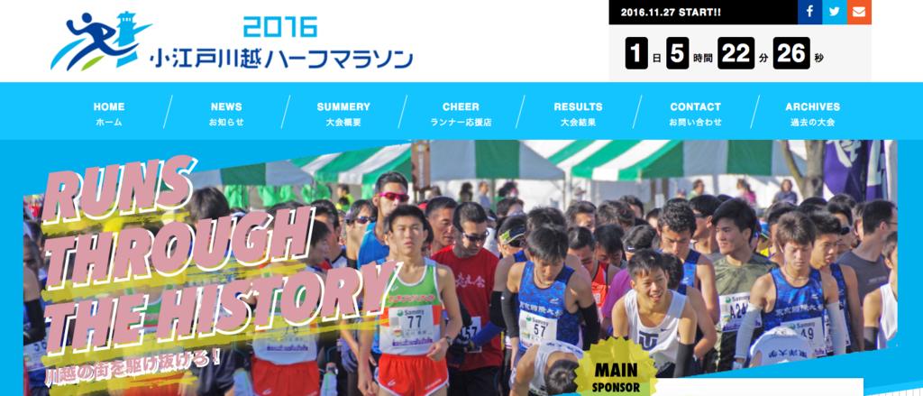 小江戸川越ハーフマラソンHP トップ画面