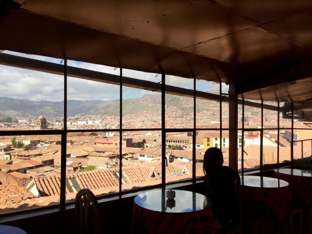 クスコの宿の食堂からの眺めが素晴らしい