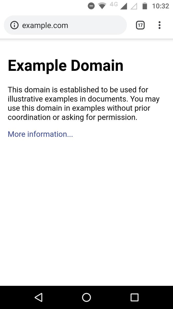 素の状態のexample.comの画面