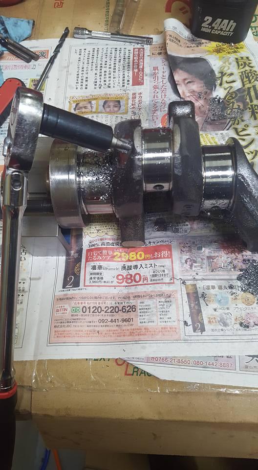 RB26,エンジンオーバーホール,クランク油穴のメクラ加工03