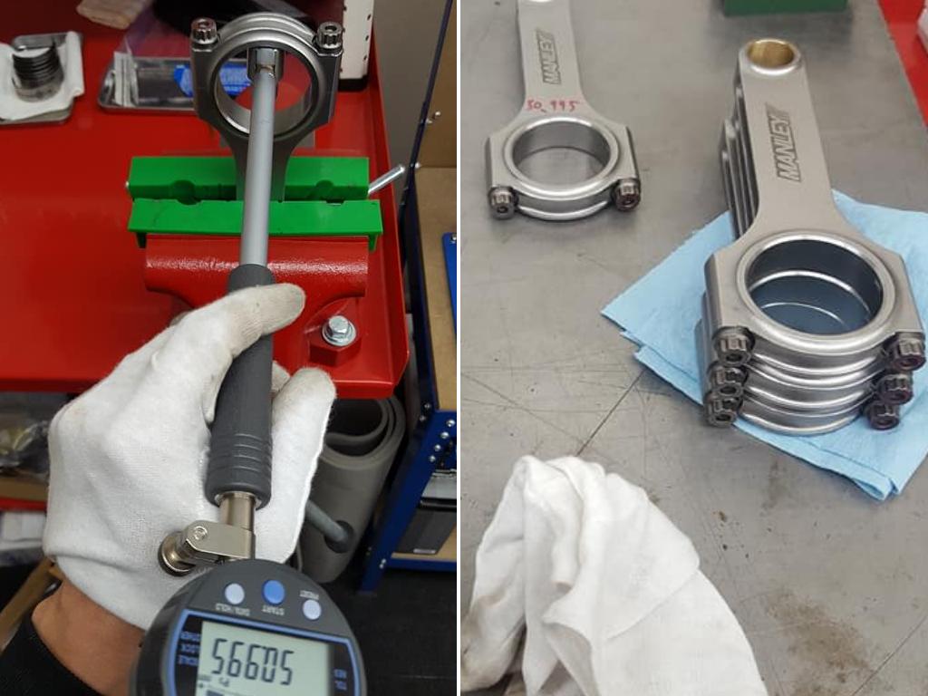 ロッド内径の測定後メタルの組み付け作業を繰り返し行います。