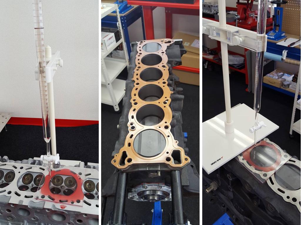 RB25コンプリートエンジン_ヘッドの容量計測・ガスケット厚決め