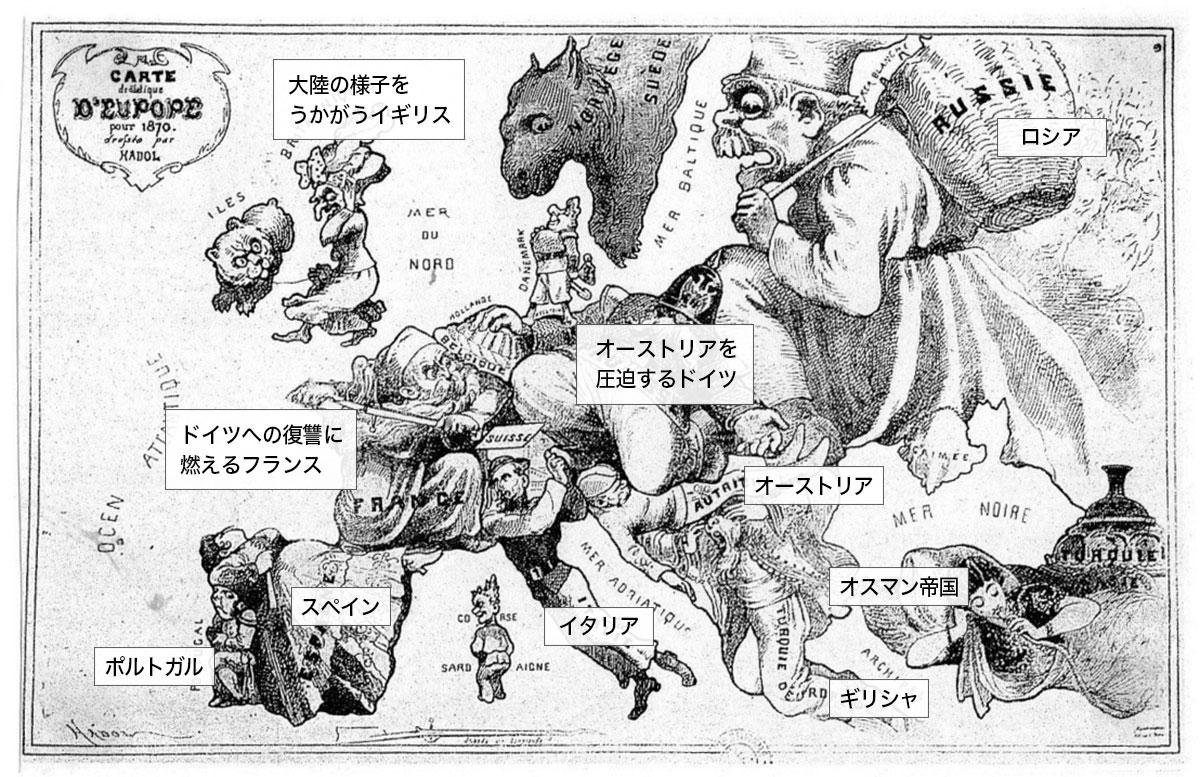 ドイツの国家統一が成立したヨーロッパを表した風刺画