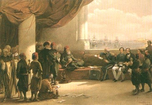 アレクサンドリアにおいて第二次エジプト・トルコ戦争の降伏交渉を行うムハンマド・アリー