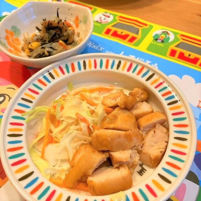 鶏マヨ照焼きとひじき煮の出来上がり(子供用)