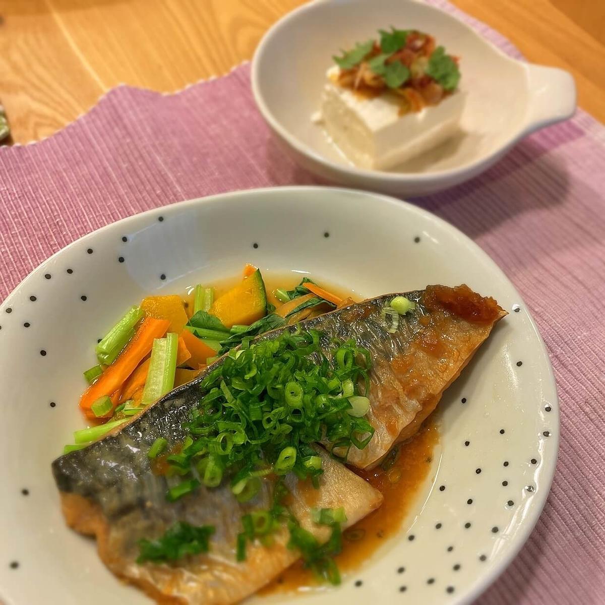 オイシックスのミールキット サバのみぞれ煮とネギかつお醤油のせ豆腐