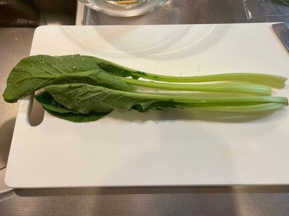 サバのみぞれ煮の添え野菜、小松菜