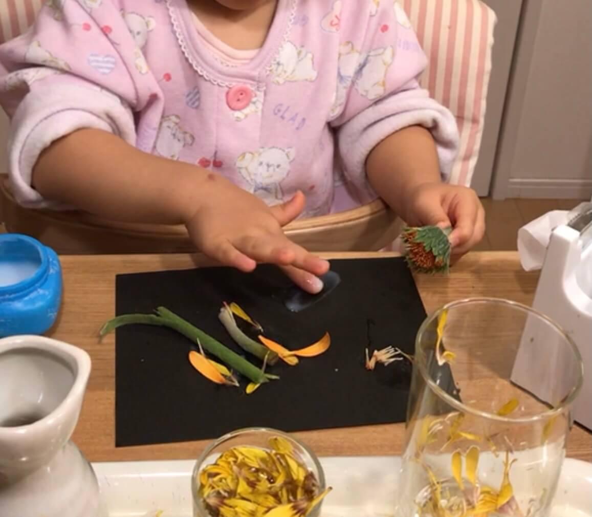 花を分解して絵を作る 子供