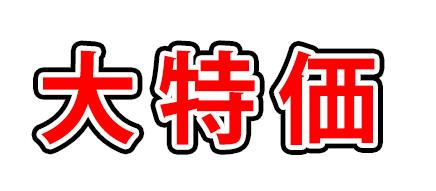 3重の袋文字で「大特価」と書かれたサンプル画像