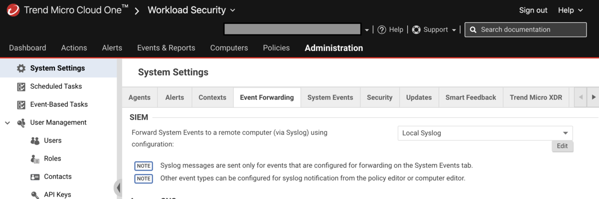 DeepSecurityでのsyslog profile = localhost syslogを指定したもの