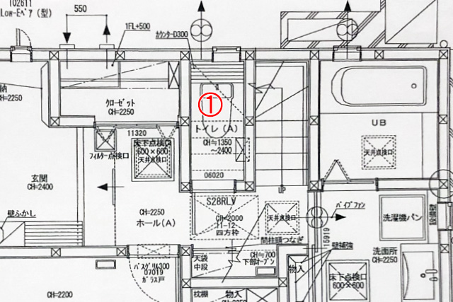 トイレとその周辺の間取り図