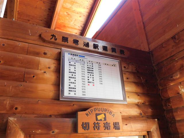 九頭竜湖駅運賃表