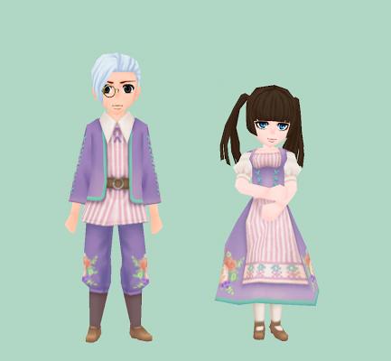 花模様の伝統衣装・藤色