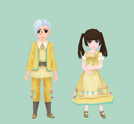花模様の伝統衣装・山吹