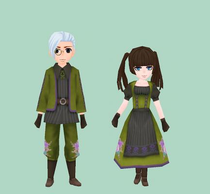 花模様の伝統衣装・緑