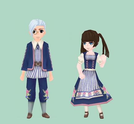 花模様の伝統衣装・紺