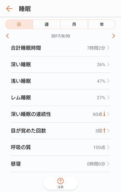 Huawei Healthアプリ睡眠記録キャプチャ