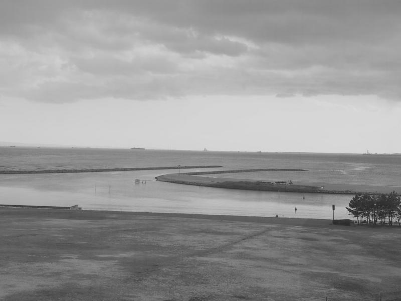 寒い日の東京湾を望む