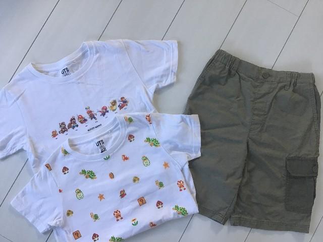 こども服のTシャツ2枚とショートパンツ