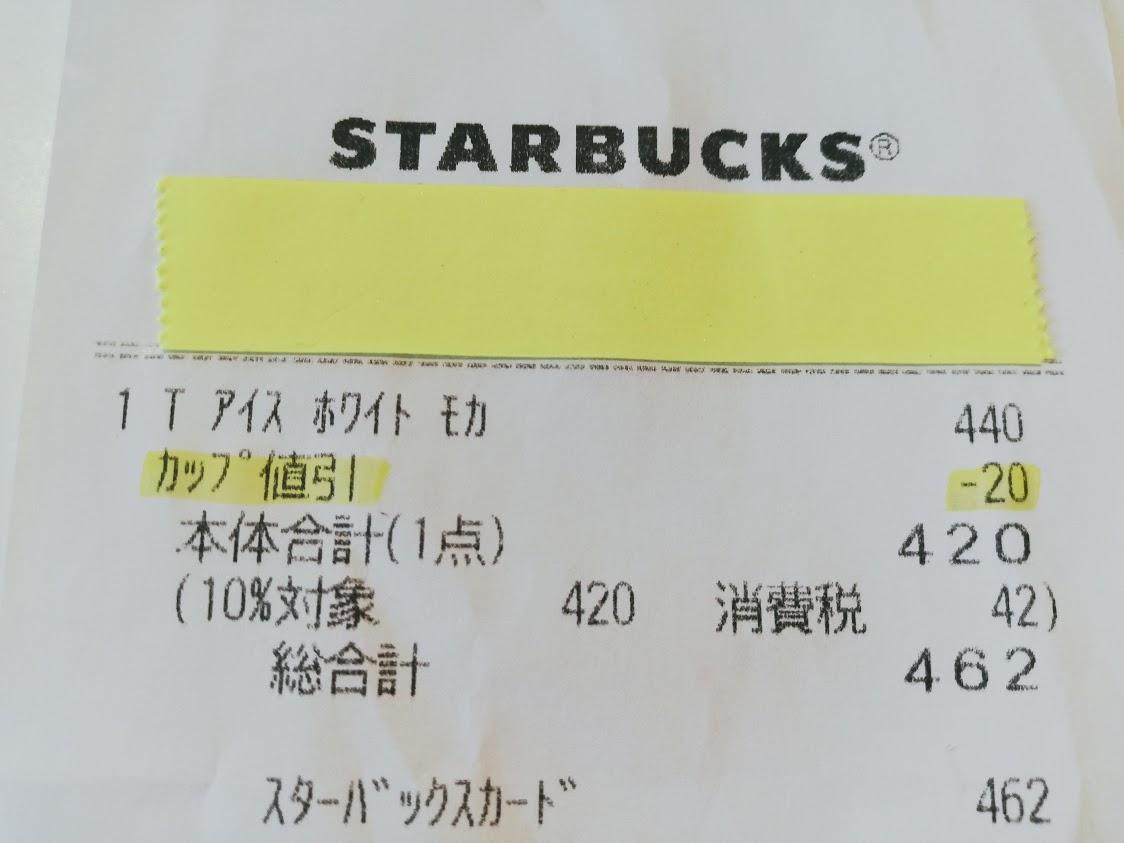 スターバックスの値引きが記されたレシート