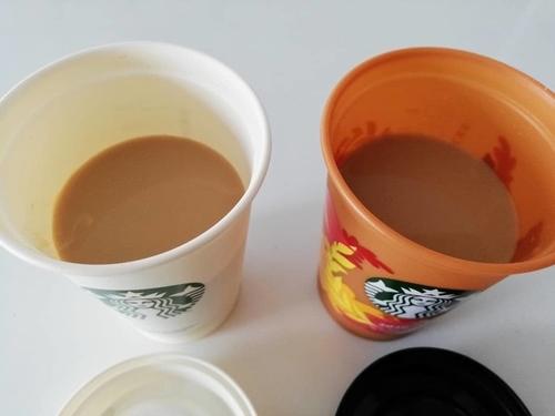 カフェラテにしたそれぞれのコーヒー