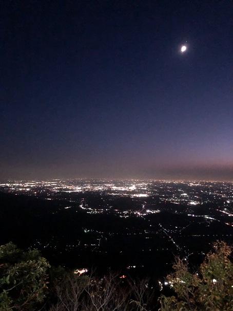 筑波山ロープウェイスターダストクルージング、山頂からの夜景