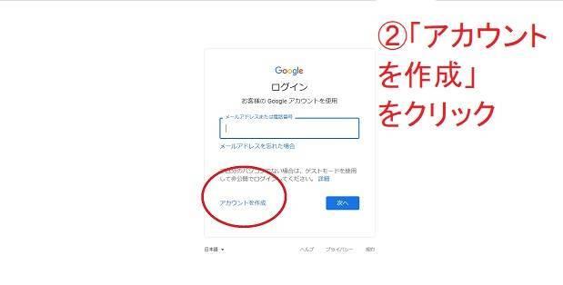 グーグルアカウント作成をクリック