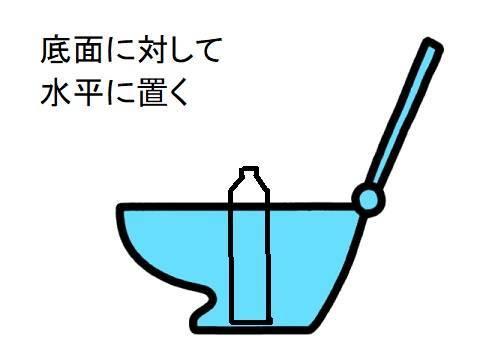 加工したペットボトルを、トイレの底面に水平に置く