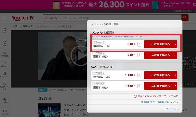 楽天TV映画の購入レンタル標準330円